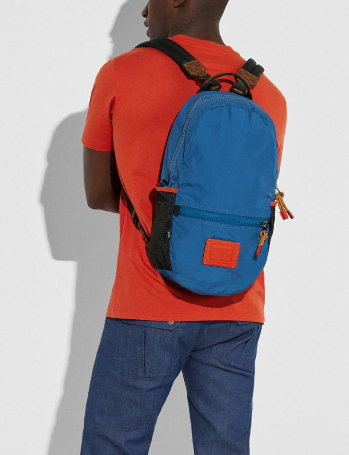 Coach Reversible Pacer Backpack in Signature Cordura® Fabric With Coach Patch Black Copper/Blue Multi  Alternate View 4