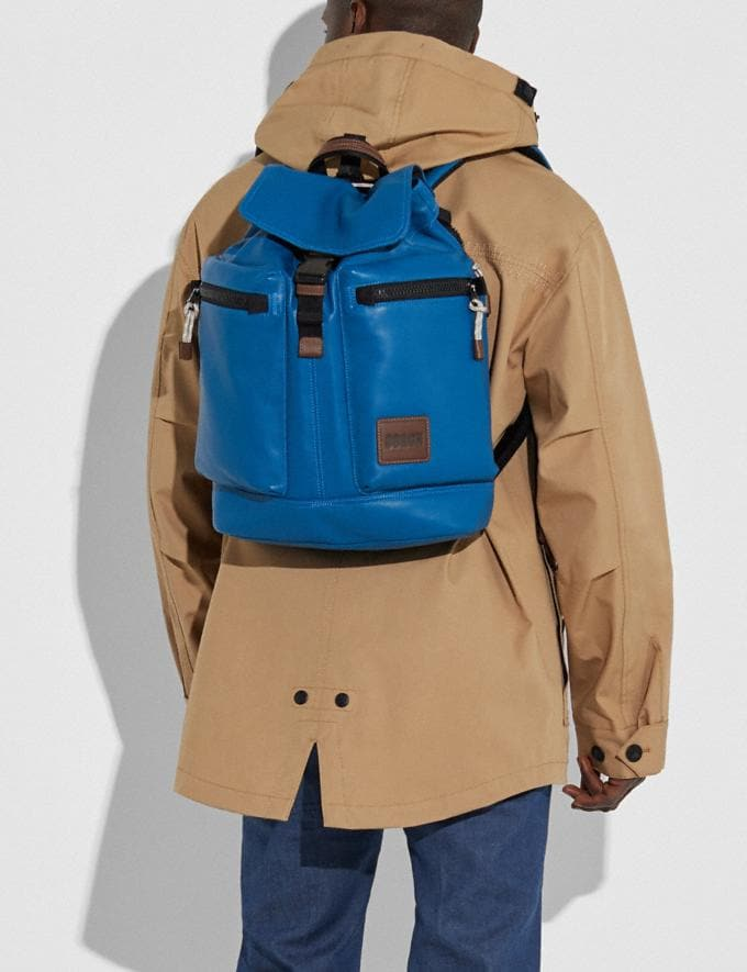 Coach Pacer Utility Backpack With Coach Patch Black Copper/Pacific New Men's New Arrivals Bags Alternate View 1