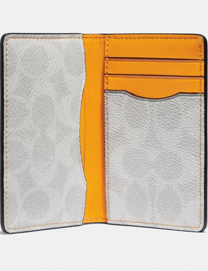 Coach Card Wallet With Signature Canvas Interior Pollen/Chalk Men Wallets Billfolds Alternate View 1