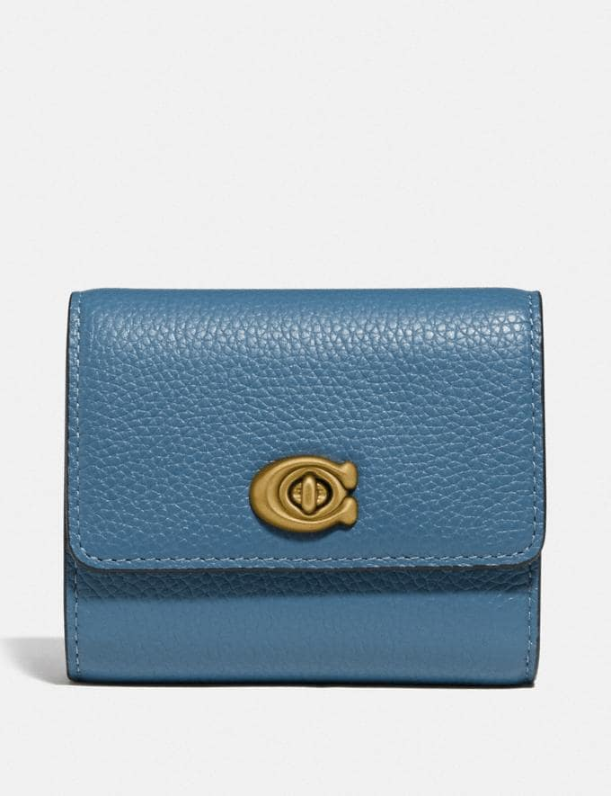 Coach Signature Turnlock Small Wallet B4/Lake Women Small Leather Goods Small Wallets