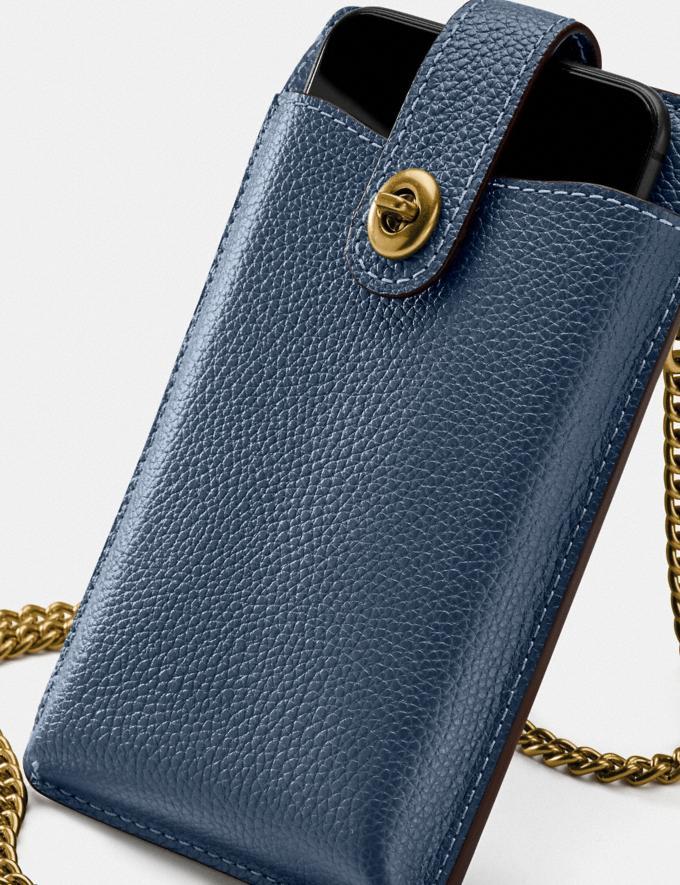 Coach Turnlock Chain Phone Crossbody Brass/Dark Denim Women Edits Work Alternate View 4