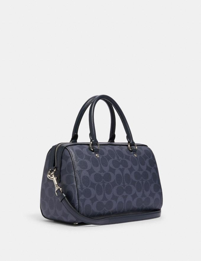 Coach Rowan Satchel in Signature Canvas Sv/Denim Midnight Clearance New To Clearance Alternate View 1