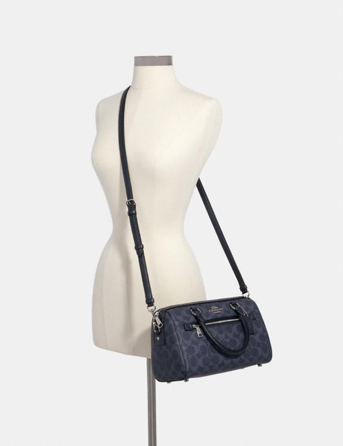 Coach Rowan Satchel in Signature Canvas Sv/Denim Midnight Clearance New To Clearance Alternate View 3