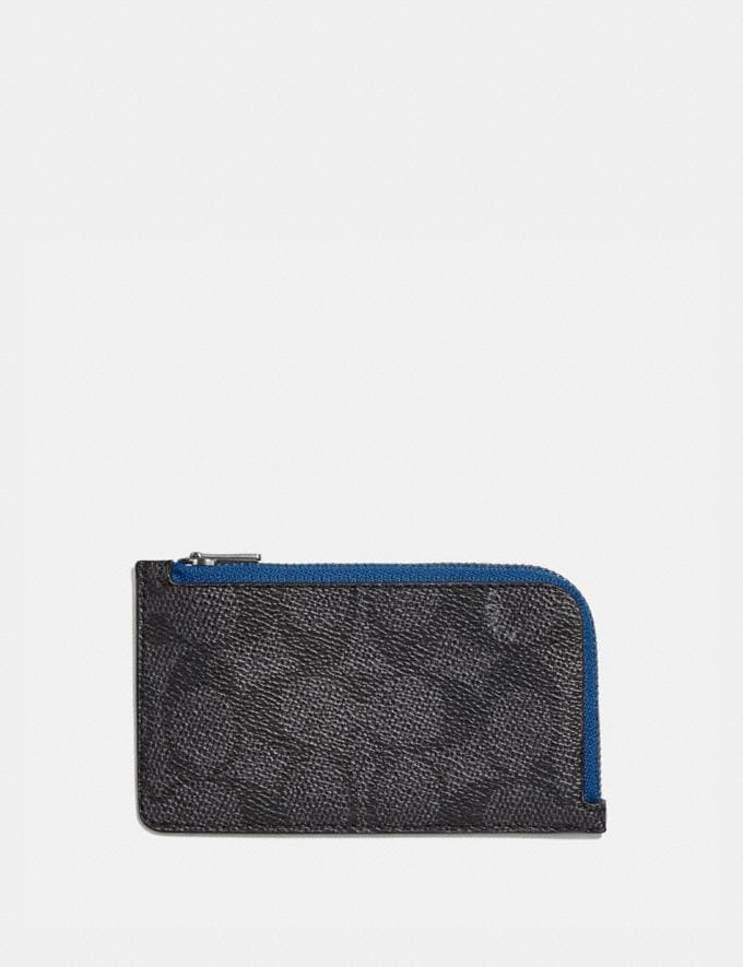 Coach L-Zip Card Case in Colorblock Signature Canvas Charcoal Signature Multi Men Wallets Card Cases