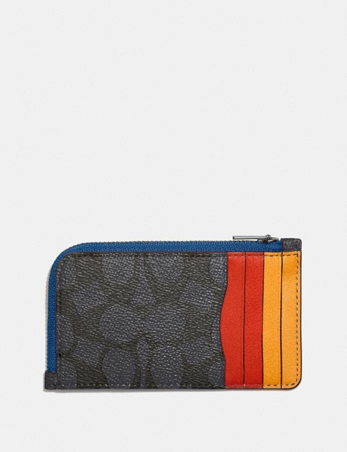 Coach L-Zip Card Case in Colorblock Signature Canvas Charcoal Signature Multi Men Wallets Card Cases Alternate View 1