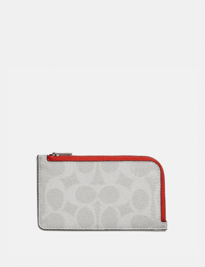 Coach L-Zip Card Case in Colorblock Signature Canvas Chalk/Mango