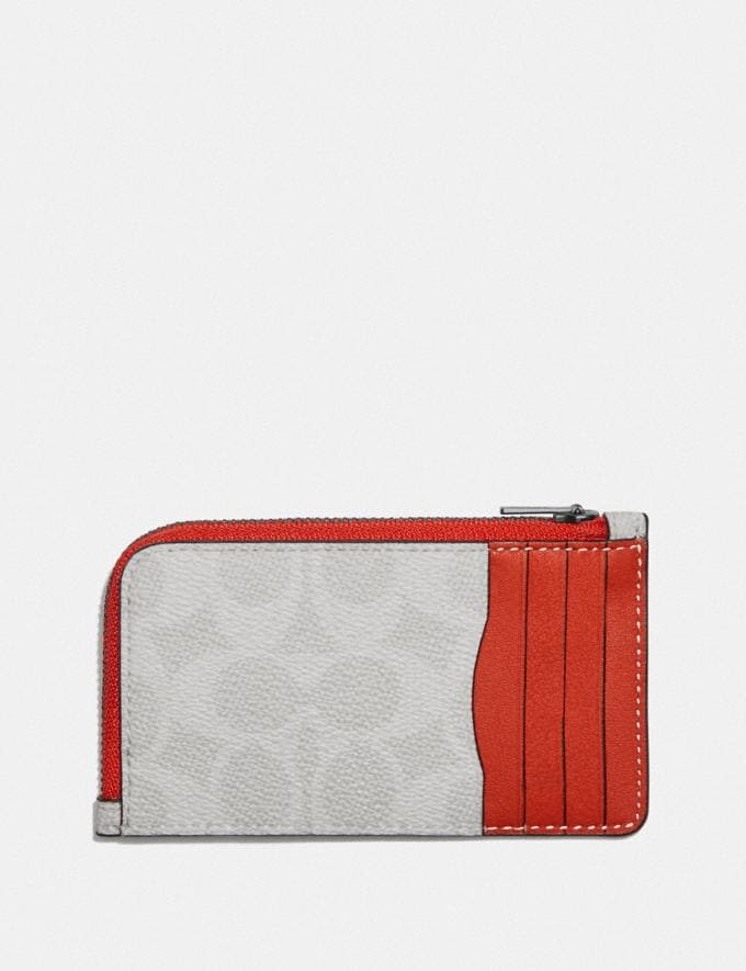 Coach L-Zip Card Case in Colorblock Signature Canvas Chalk/Mango  Alternate View 1