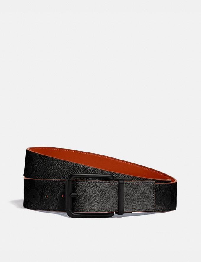 Coach Roller Buckle Cut-To-Size Reversible Belt, 38mm Charcoal/Mango Men Accessories Belts