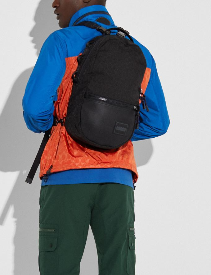 Coach Reversible Pacer Backpack in Signature Cordura® Fabric With Camouflage Apple Print and Coach Patch Black Copper/Black Multi  Alternate View 4
