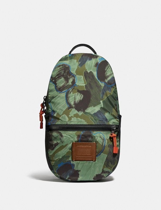 Coach Reversible Pacer Backpack in Signature Cordura® Fabric With Camouflage Apple Print and Coach Patch Black Copper/Black Multi  Alternate View 5