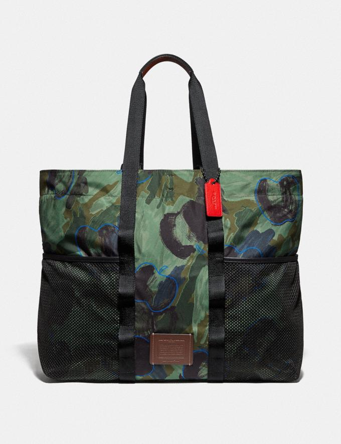 Coach Reversible Pacer Tote in Signature Cordura® Fabric With Camouflage Apple Print and Coach Patch Black Copper/Black Multi  Alternate View 5