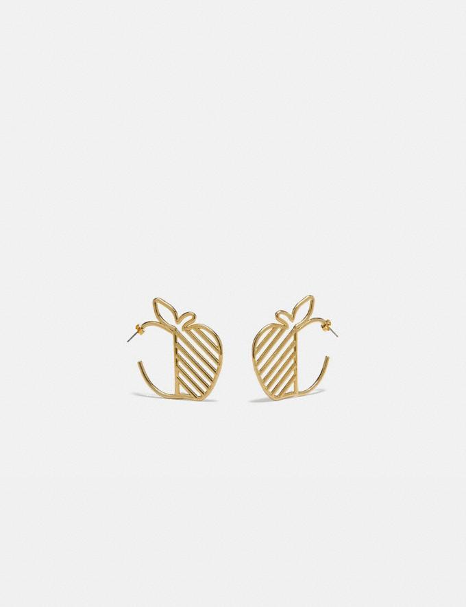 Coach Apple Hoop Earrings Gold Women Accessories Jewelry & Watches