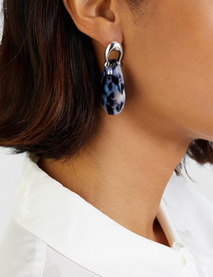 Coach Sculpted Signature Teardrop Earrings Sv/Blue Women Accessories Jewellery Earrings Alternate View 1