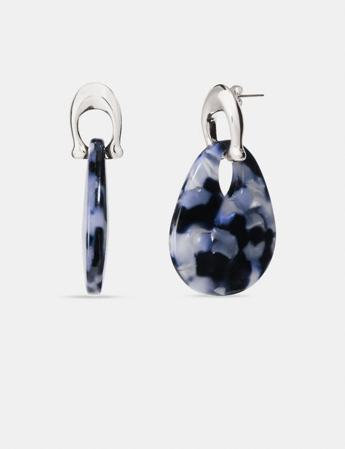 Coach Sculpted Signature Teardrop Earrings Silver/Blue Women Accessories Jewelry & Watches