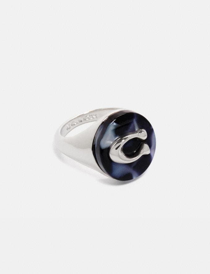 Coach Sculpted Signature Signet Ring Sv/Blue