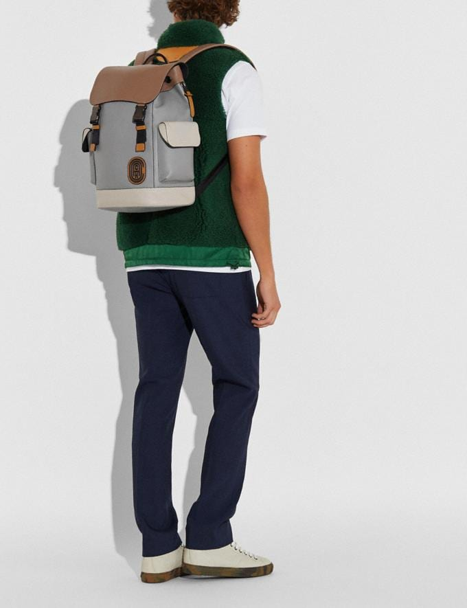 Coach Rivington Backpack in Colorblock With Coach Patch Ji/Washed Steel New Men's New Arrivals Alternate View 3