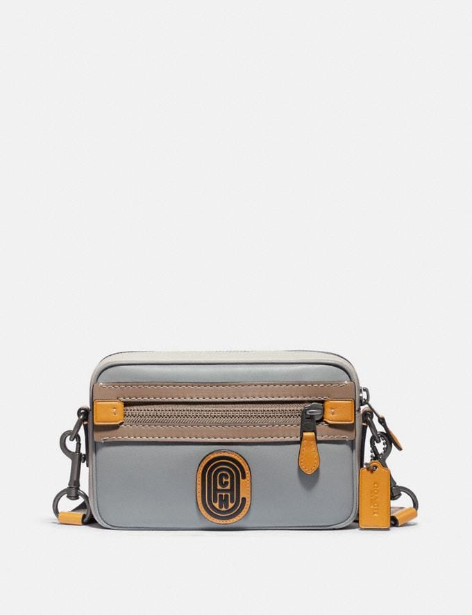 Coach Academy Crossbody in Colorblock With Coach Patch Black Copper/Washed Steel Men Bags Messenger & Crossbody