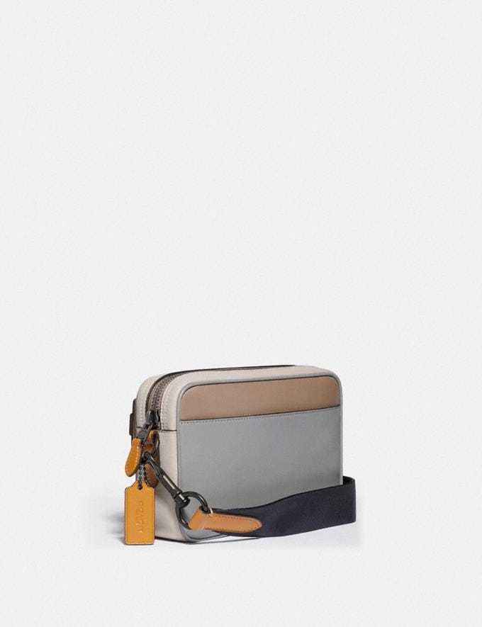 Coach Academy Crossbody in Colorblock With Coach Patch Black Copper/Washed Steel Men Bags Messenger & Crossbody Alternate View 1
