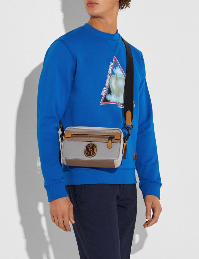 Coach Academy Crossbody in Colorblock With Coach Patch Black Copper/Washed Steel Men Bags Messenger & Crossbody Alternate View 3