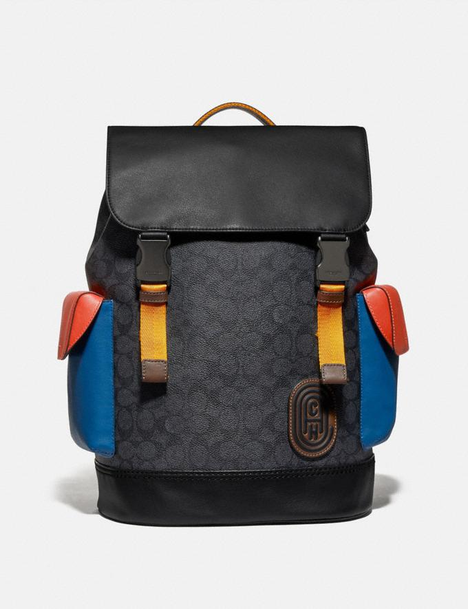 Coach Rivington Backpack in Colorblock Signature Canvas With Coach Patch Black Copper/Charcoal Multi New Men's New Arrivals View All