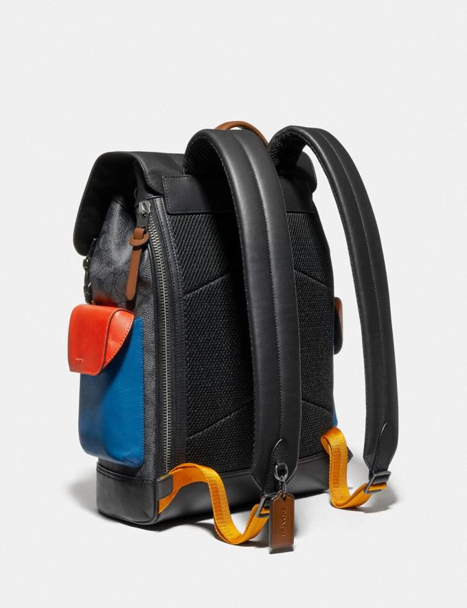 Coach Rivington Backpack in Colorblock Signature Canvas With Coach Patch Black Copper/Charcoal Multi New Men's New Arrivals View All Alternate View 1