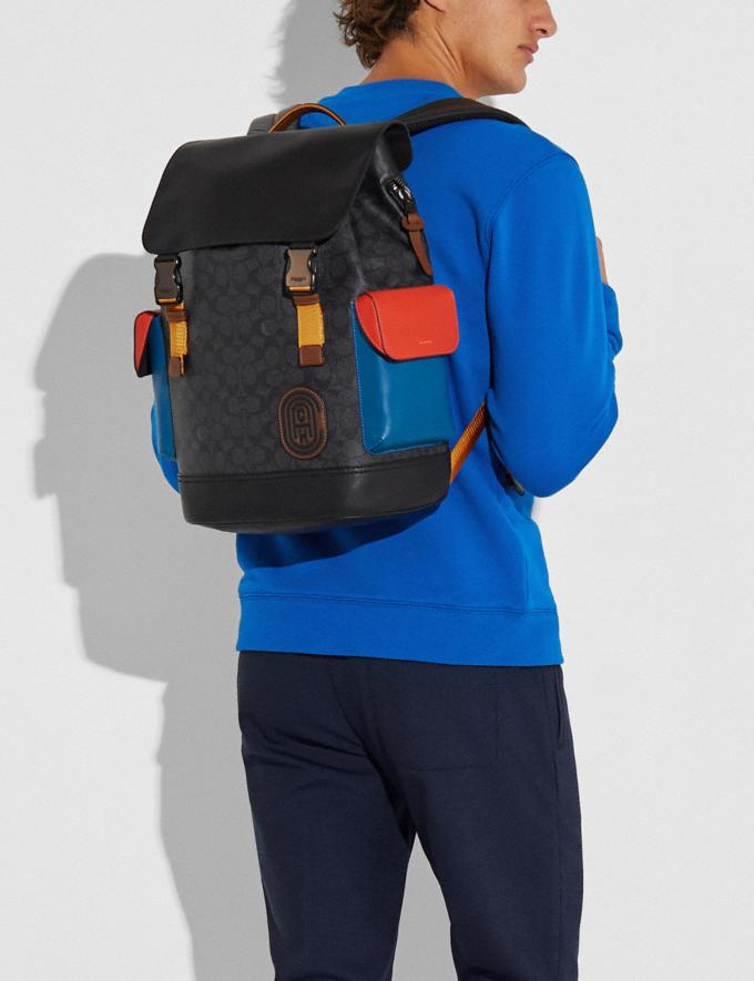 Coach Rivington Backpack in Colorblock Signature Canvas With Coach Patch Black Copper/Charcoal Multi New Men's New Arrivals View All Alternate View 3