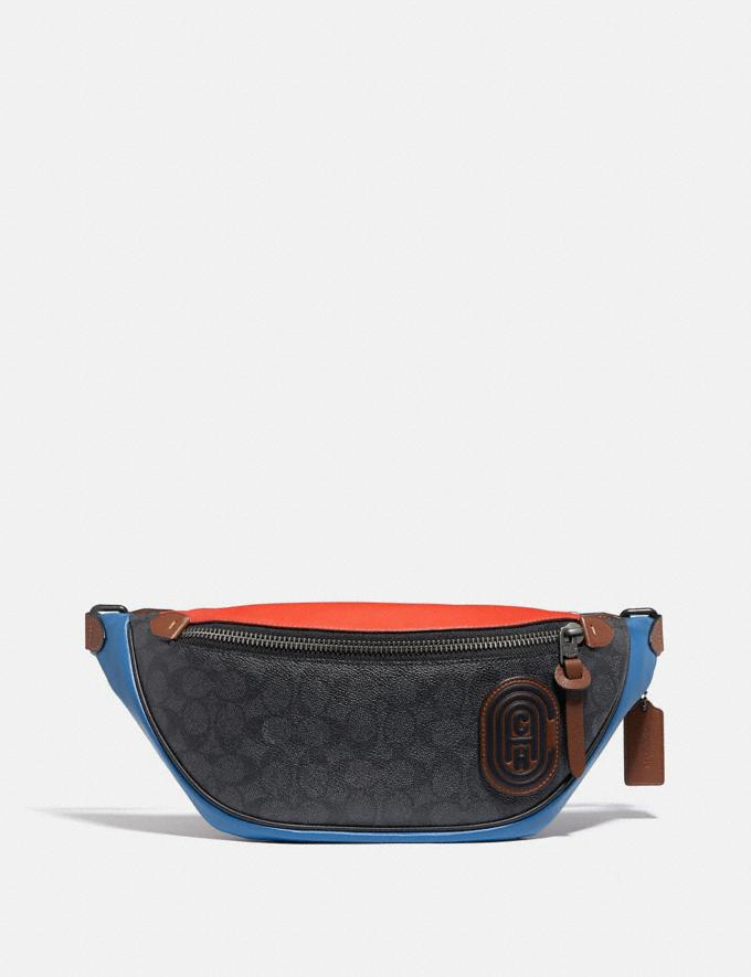 Coach Rivington Belt Bag in Colorblock Signature Canvas With Coach Patch Black Copper/Charcoal Multi Men Bags Messenger & Crossbody