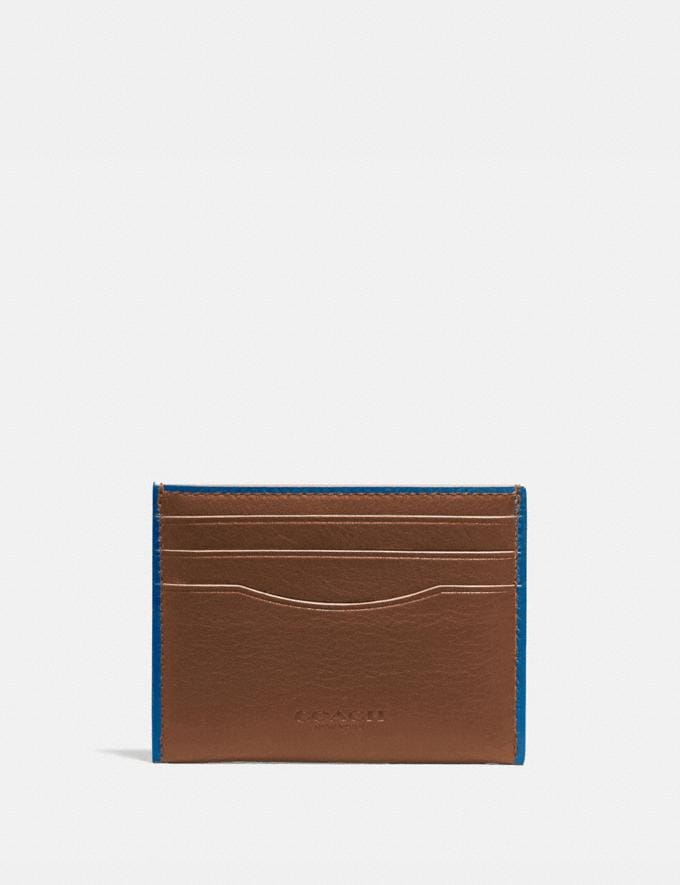 Coach Card Case Saddle/Pacific Men Wallets Card Cases