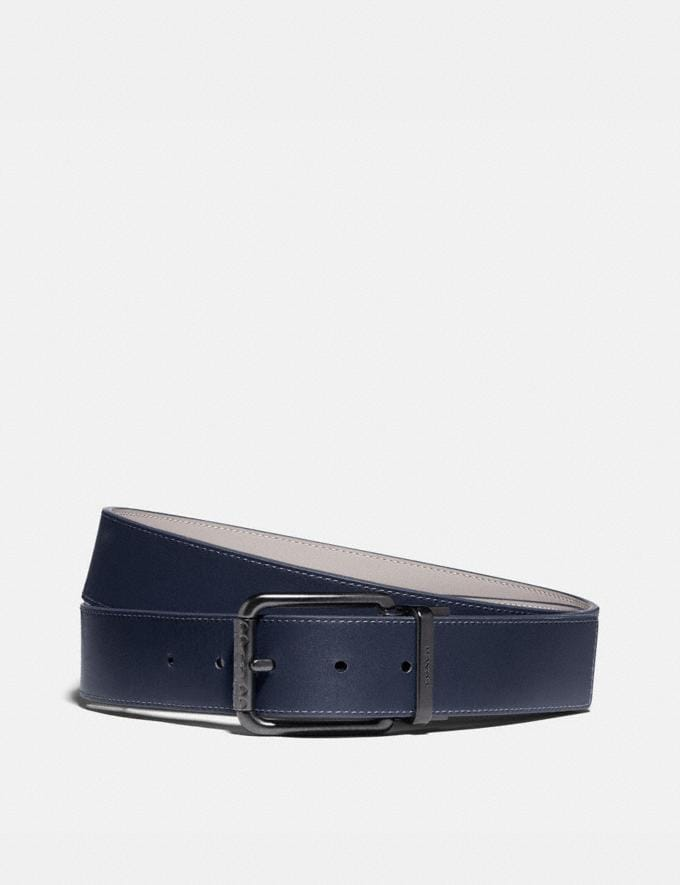 Coach Roller Buckle Cut-To-Size Reversible Belt, 38mm Midnight/Bone Men Accessories Belts