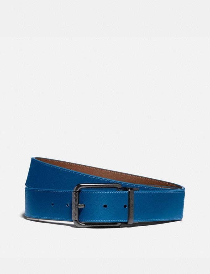 Coach Roller Buckle Cut-To-Size Reversible Belt, 38mm Saddle/Pacific Men Accessories Belts