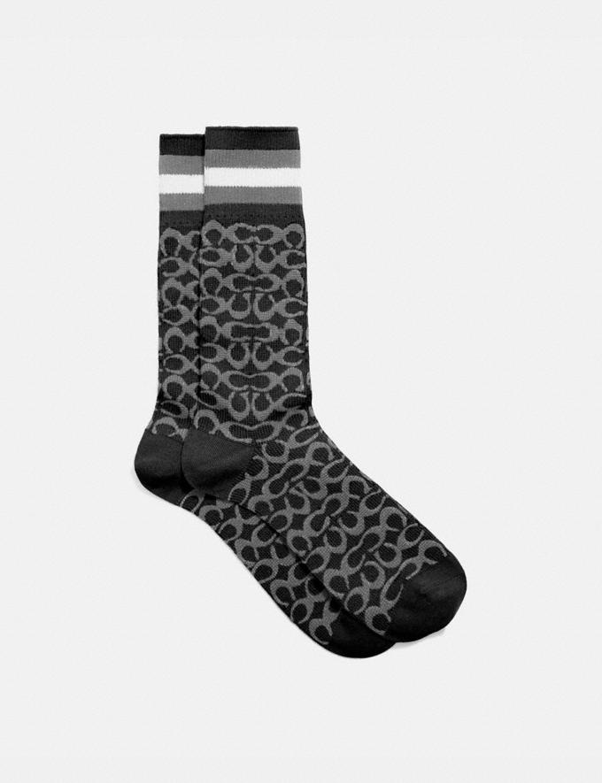 Coach Signature Socks Charcoal Signature Multi