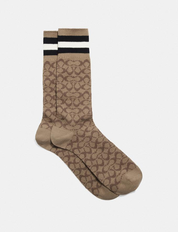 Coach Signature Socks Tan Signature Multi