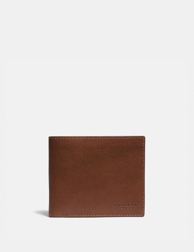 Coach Slim Billfold Wallet Saddle Men Edits Work
