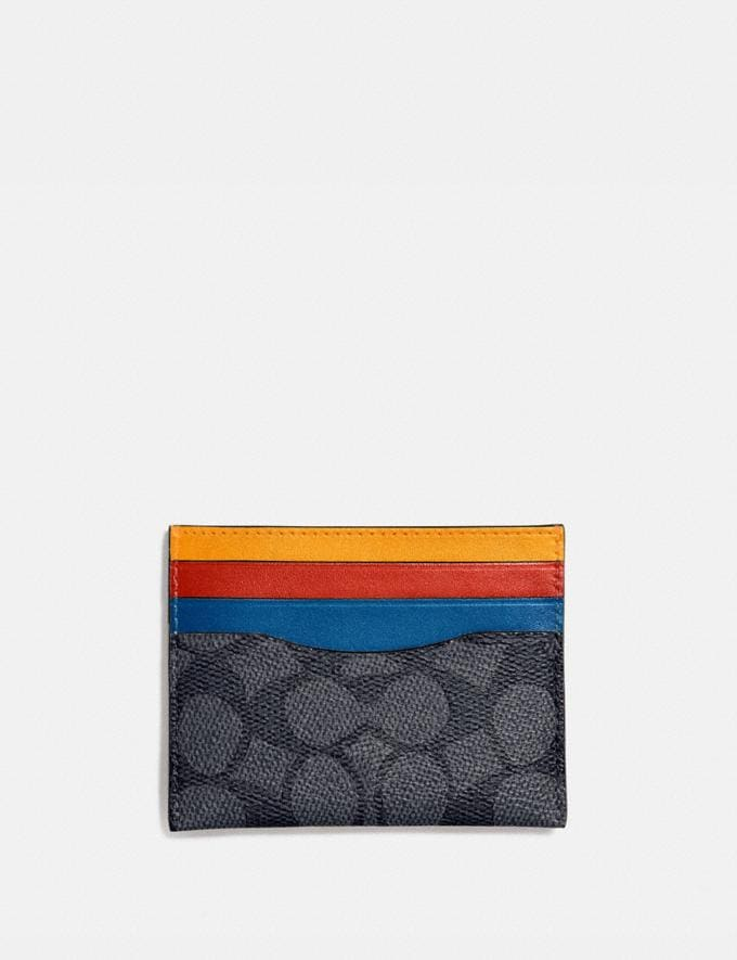 Coach Card Case in Colorblock Signature Canvas Charcoal Signature Multi Gifts For Him Under $100