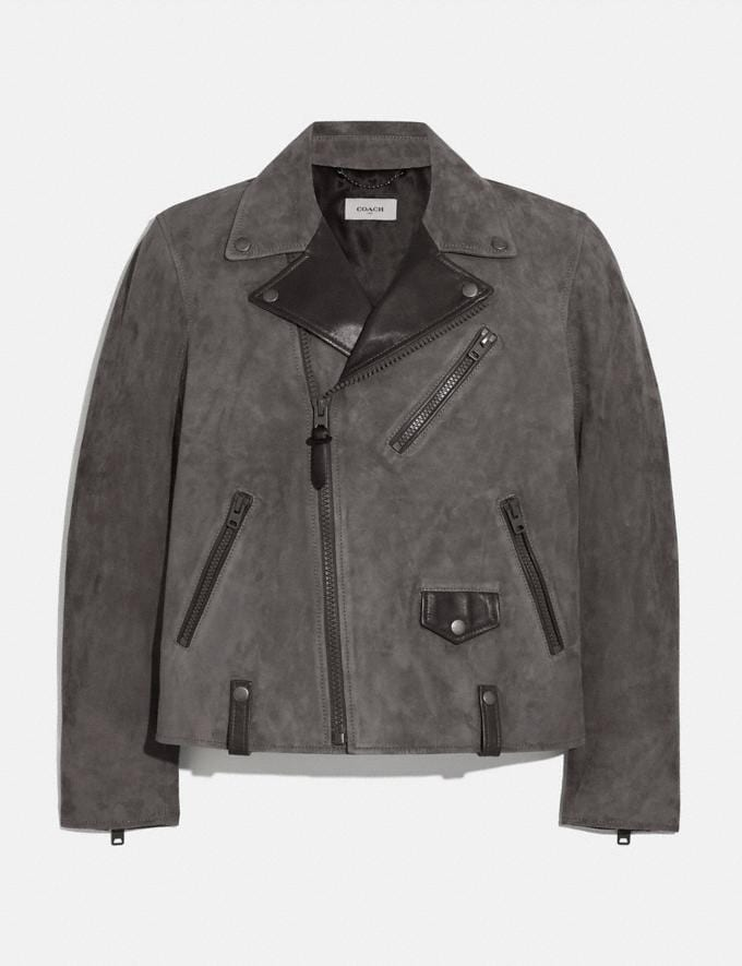Coach Suede Moto Jacket Graphite Men Ready-to-Wear Jackets & Outerwear