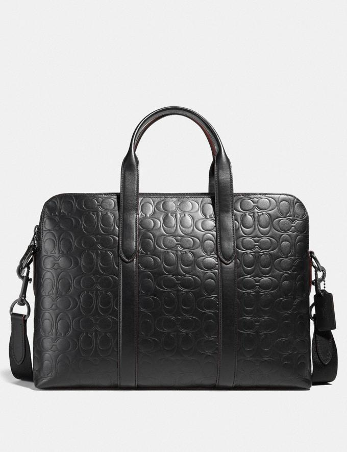 Coach Metropolitan Soft Brief in Signature Leather Qb/Black Men Bags Briefcases