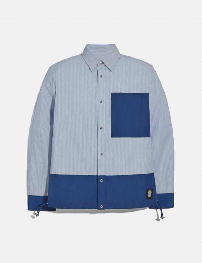 Coach Essential Shirt Blue Stripe Men Ready-to-Wear Clothing