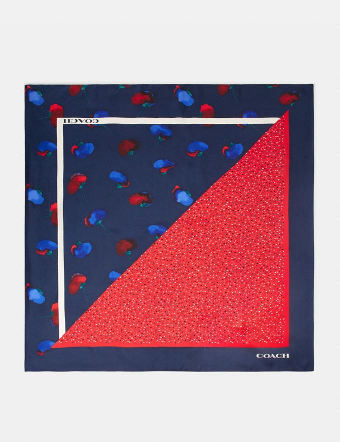 Coach Floral Dot Print Silk Square Scarf Blue/Red