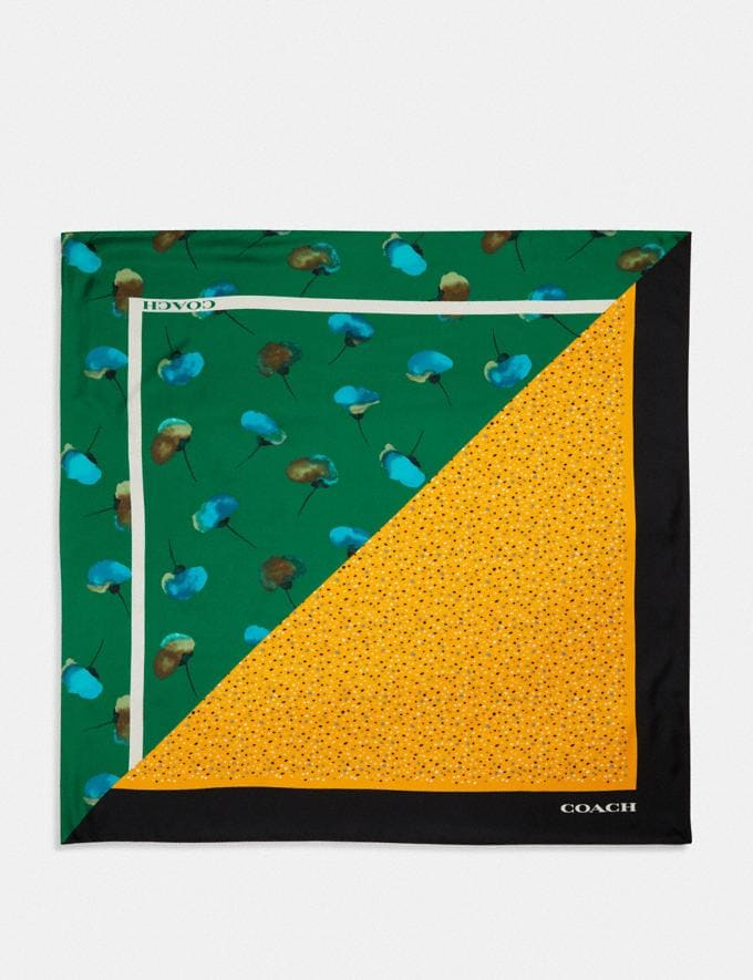 Coach Floral Dot Print Silk Square Scarf Green/Yellow Women Accessories Hats, Scarves & Gloves