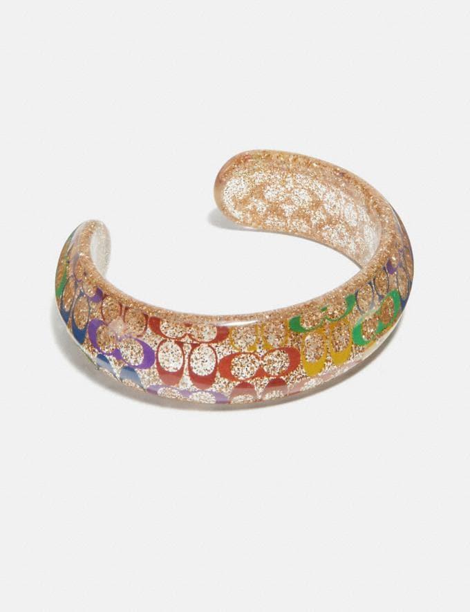 Coach Rainbow Signature Cuff Gd/Multi Women Accessories Jewellery Bracelets