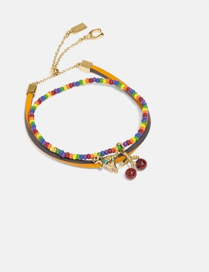 Coach Rainbow Charm Friendship Bracelet Set Gold/Multi New Featured Coach Pride Collection