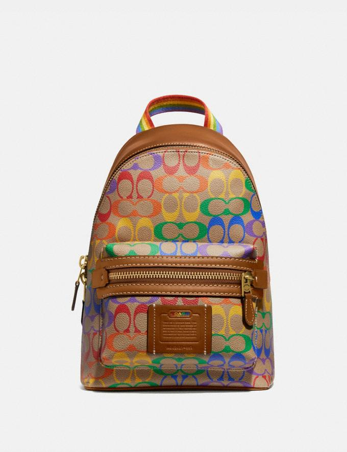 Coach Academy Pack in Rainbow Signature Canvas Ol/Multi Men Bags Backpacks