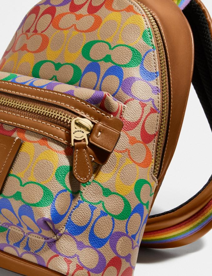 Coach Academy Pack in Rainbow Signature Canvas Ol/Multi Men Bags Backpacks Alternate View 4