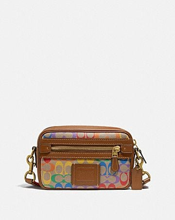 academy crossbody in rainbow signature canvas