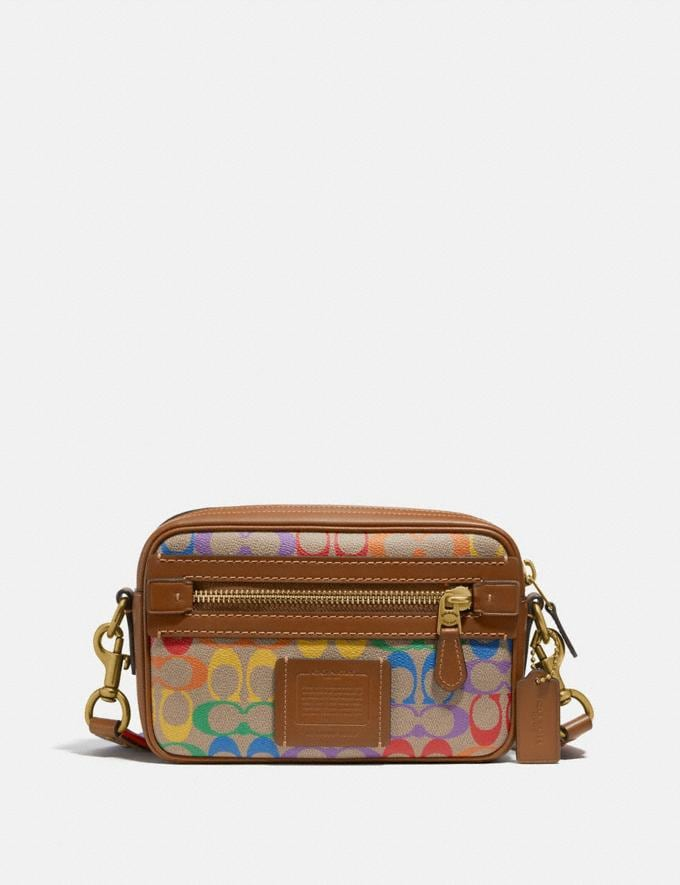 Coach Academy Crossbody in Rainbow Signature Canvas Ol/Multi Men Bags Messenger & Crossbody