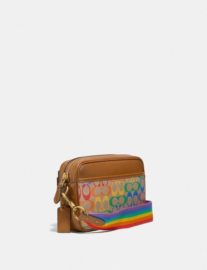 Coach Academy Crossbody in Rainbow Signature Canvas Ol/Multi Men Bags Pouches Alternate View 1