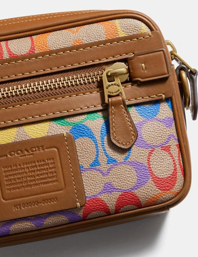 Coach Academy Crossbody in Rainbow Signature Canvas Ol/Multi Men Bags Messenger & Crossbody Alternate View 5