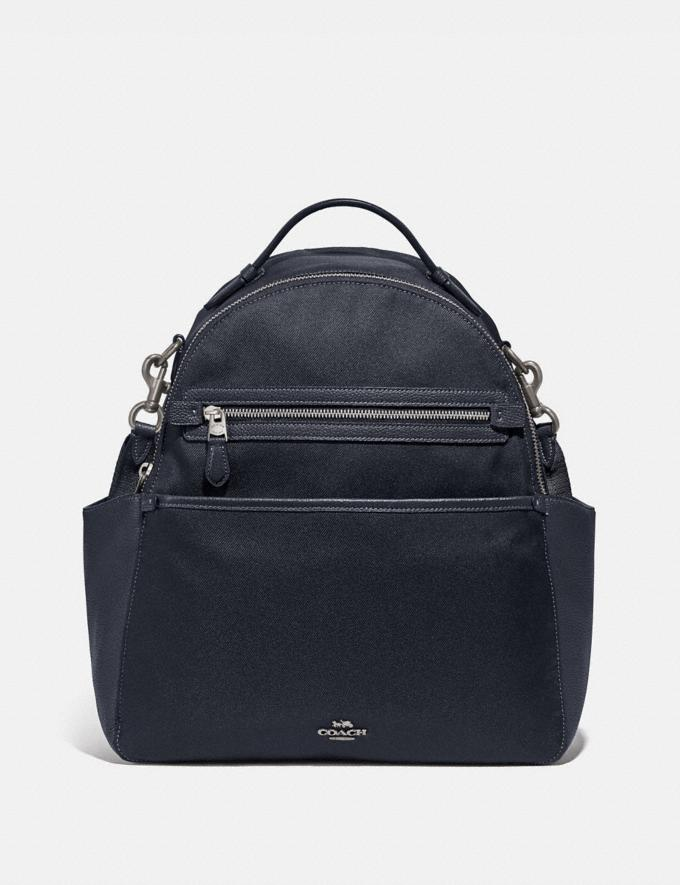 Coach Baby Backpack Light Antique Nickel/Midnight Navy Women Handbags Backpacks