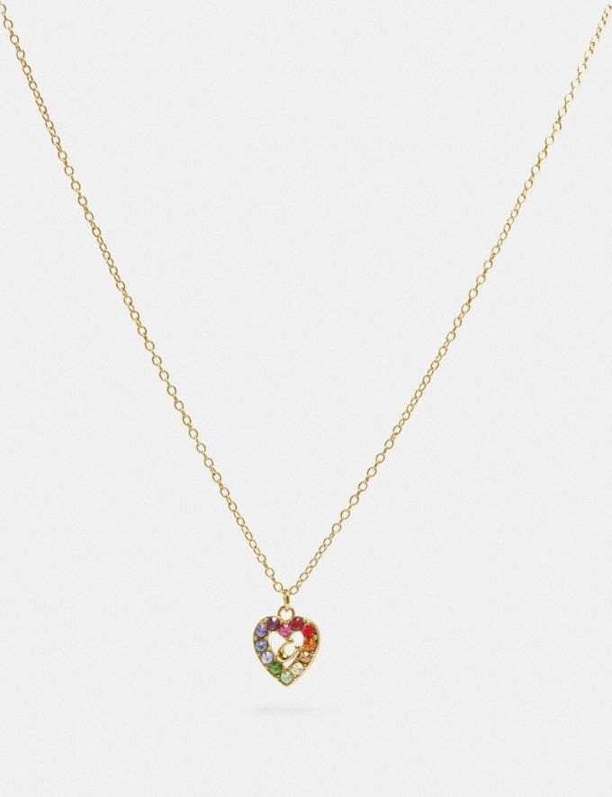 Coach Rainbow Pave Sculpted Signature Heart Slider Necklace Gd/Multi Damen Accessoires Schmuck Halsketten