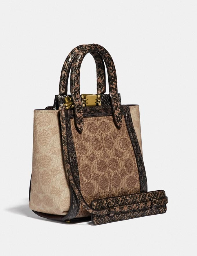 Coach Troupe Tote 16 in Signature Canvas With Snakeskin Detail B4/Tan Sand Women Bags Satchels Alternate View 1